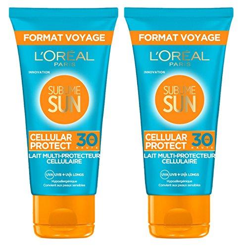 Tamaño de L'Oréal Paris Sublime Sun Cellular viaje Proteger leche Multi-Cell protector FPS30 50 ml - Lote de 2