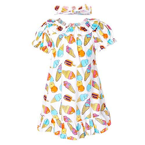 Minizone Peuter Meisjes Jurk met Hoofdband 2 stks Baby Korte Mouw Gedrukt Rok Baby Ruche Katoen Outfits 1-5 Jaar