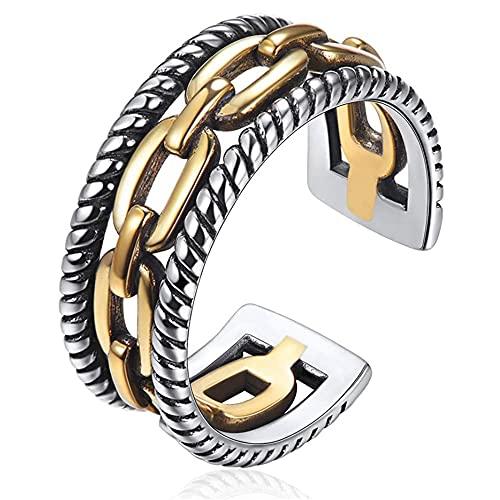 YUACY Anillo de plata de ley S925 anillo de dedo abierto para hombres y mujeres, anillos apilables ajustables