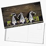 Walser: 10pieza exclusiva XXL Tarjetas postales de navidad (Tarjetas postales gnomo duende de la Navidad Tarjetas de Navidad Team Verde Claro Gris Marrón 12,5x 23,5cm, tarjetas de Navidad