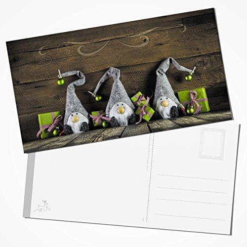 Kerstkaarten 10 grote XXL kerstmis WICHTEL foto-motief groen rood bruin grijs wit natuurlijk fotokaarten kerstkaarten dubbelzijdig 23,5 x 12,5 cm