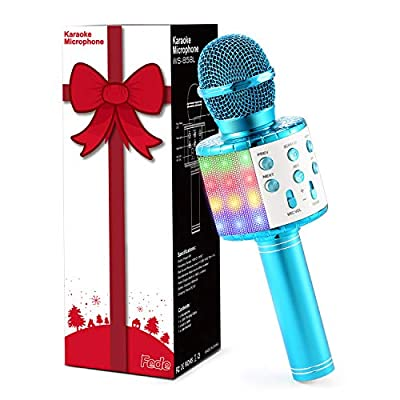 Fede Karaoke Microphone, Wireless Bluetooth Karaoke Microphone with Flashing Colorful LED Lights Portable Speaker Karaoke Machine, Home KTV Player Support Android & iOS Devices for Party/Kids Singing