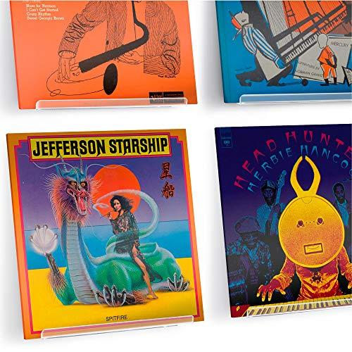 Hudson Hi-Fi Schallplatten-Wand-Display – 4 Stück – Präsentieren Sie Ihren täglichen Hörgenuss mit Stil – Clear Acrylic