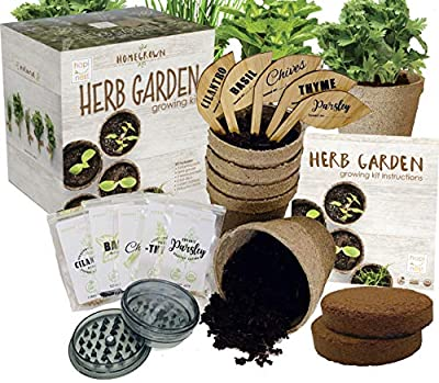Indoor Herb Garden Growing Seed Starter Kit Gardening Gift - Thyme, Parsley, Chives, Cilantro, Basil, USDA Organic and Non-GMO