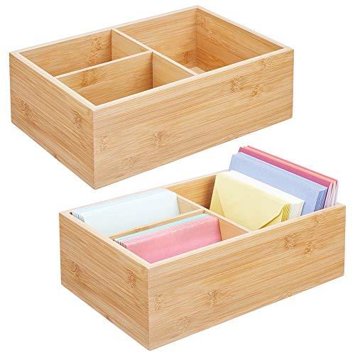 mDesign Juego de 2 cajas organizadoras para oficina – Práctica caja de almacenaje con 3 compartimentos para bolígrafos, sobres, pósits y demás – Moderno organizador de escritorio – color natural