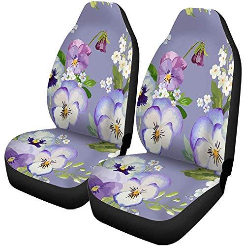 Beth-D Set van 2 autostoelhoezen Bloom Pansy Flowers Floral Shabby Chic patroon In Blossom auto voorstoelbeschermer past voor auto, SUV limousine, vrachtwagen
