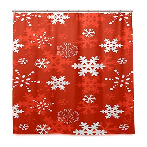 Weihnachts-Schneeflocken-Duschvorhang für Badezimmer, Heimdeko, Weihnachten, Winter, Neujahr, Stoff, schimmelresistent, wasserdicht, Badewannen-Vorhang, Tuch mit 12 Haken, 183,0 cm x 183,0 cm