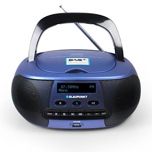 Blaupunkt BD 400 Tragbarer CD-Player mit Digital Radio DAB+, CD Spieler mit Stereoboxen, Aux In Anschluss für MP3 Player, CD Player mit USB, RDS Senderanzeige, blau schwarz