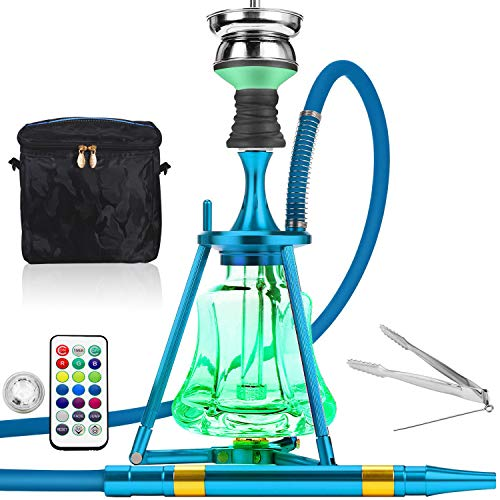 "Portable Hookah Set with Led Light, Mini Glass Shisha 18"" with Silicone Hose Bowl Small Base Tongs Electric Multicolor & Travel Case Bag - Blue"