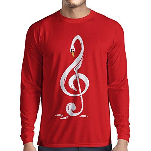 N4369L Camiseta de Manga Larga G Clave Musical (X-Large Rojo Multicolor)