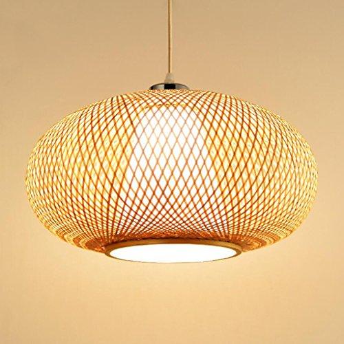 WYL Mesa de la sala minimalista moderna de bambú tejidas a mano ronda lámparas huecas restaurante Terraza decorada lámpara E27 (Size : 40 * 22cm)