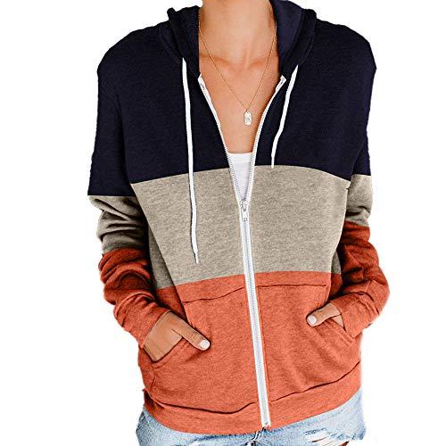 N /C Sudaderas con capucha de bloque de color casual con cuello en V de manga larga con cordón y cremallera con bolsillo