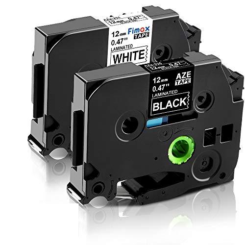 Nastro per Etichette Fimax Compatibile In sostituzione di Brother TZ 12mm 0.47 TZe-231 TZe-335 Laminato Tape per Brother P-Touch H100LB H107 1000 1005 H100R H110 D210 (Confezione da 2)