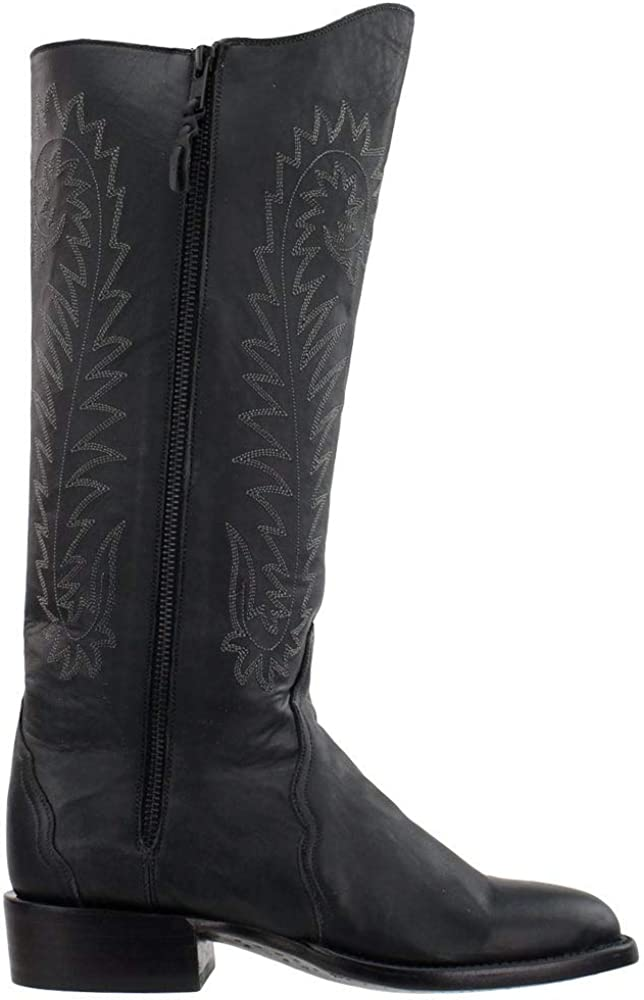 Lucchese Womens Lavati Calf Round Toe Boots Mid Calf Low Heel 1-2