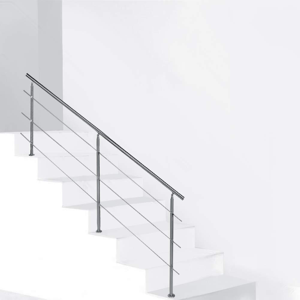 Barandilla Seguridad Escalera Pasamano de Escalera de Acero Inoxidable Interior Exterior, 120cm (3 Travesaños): Amazon.es: Bricolaje y herramientas