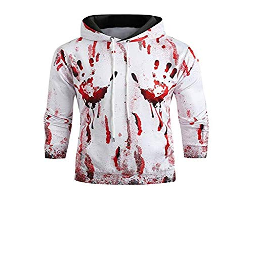 Best Prices! Hmlai Clearance Unisex Hoodies Pullover Long Sleeve Halloween Blood Print Sports Outwear Hooded Sweatshirts with Kanga Pocket (3XL, White)