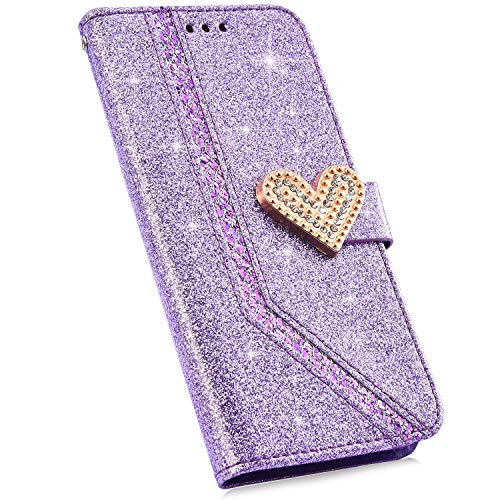 Urhause Compatible con Funda Huawei P8 Lite 2017 Carcasa 3D Diamante Brillante Glitter Billetera Cuero PU Cover Case Bumper Libro Folio Flip Soporte Plegable Protectora Cartera Magnético Caso,Púrpura