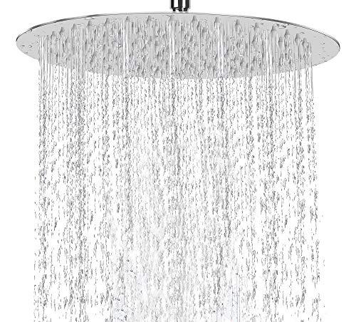 conhee Regendusche 12 Zoll Rund Einbauduschkopf 304 Edelstahl Duschkopf poliert Spiegeleffekt Kopfbrause Regenbrause mit Anti-Kalk-Düsen 30 cm Wasserfall Regenduschkopf