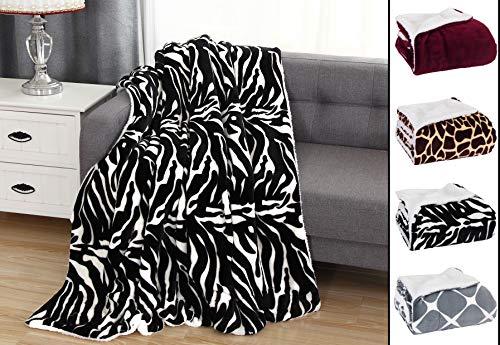 "Elegant Comfort Luxury Ultra-Plush Velvet Touch Fleece Throw Soft, Sherpa-Backing Reversible Blanket for Bed, Sofa and Couch, (50 x 60""), Zebra"