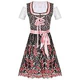 AOCRD Oktoberfest - Vestido de tirolesa para mujer, estilo bávaro, vestido de manga corta, tallas S-2XL, Rosa., M