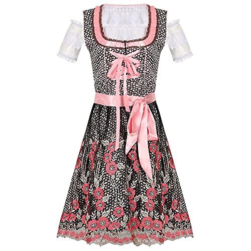 AOCRD Trachten Damen Dirndl Midi Tachtenkleid Dirndlkleid für Oktoberfest 2-teilig mit Spitzenschürze Schulterfrei Retro Trachtenmode für Spezielle Anlässe Trachtenrock mit Schürze