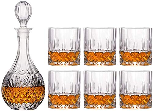 Whiskey glassPremium Whiskey Carafe Set Unleaded 4 Complex Glasses Set 100% Transparent Lead-Free Crystal Glass bar for Whisky Scotch Whisky Bourbon Whisky Rum in Gift Boxes-04 SkyMdns