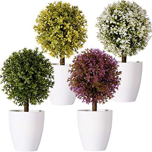 FagusHome 20cm Alto Plantas Artificiales en Maceta 4 Piezas árbol en Forma de Bola en Maceta boj Artificial plástico para decoración (A)