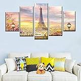 183Tdfc Cuadro En Lienzo 5 Piezas Canvas Wall Art Photo Frame Home Decoration 5 Panel Beautiful Paris Tower Abstract Landscape Painting HD Print Nordic Poster 150X80Cm(con Marco