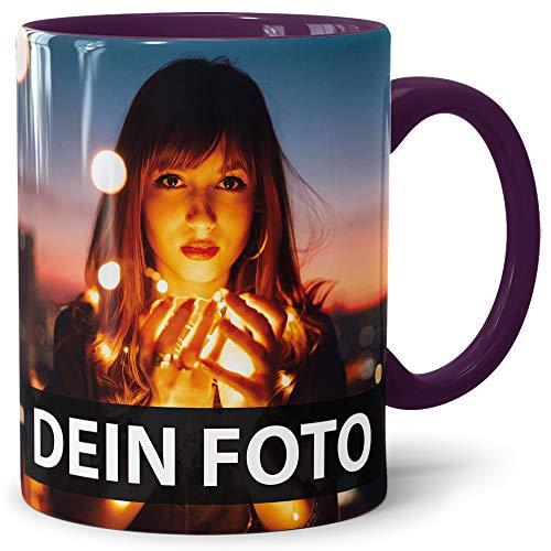 Print Royal Foto-Tasse zum selbst gestalten mit Foto und Text/mit individuellen Druck in Profiqualität/Personalisierte Geschenk-Idee mit Bild/XXL-Druck/Violett
