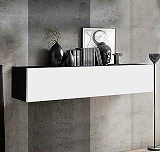 muebles bonitos Armario Colgante Modelo Krista H-150 (160x30cm) en Negro y Blanco