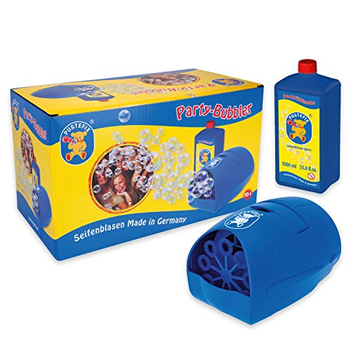 Pustefix Party-Bubbler I 1000 ml Seifenblasenwasser I Bunte Bubbles Made in Germany I Seifenblasen-Maschine für Hochzeit, Kindergeburtstag, Polterabend, Standesamt I Spaß für Kinder & Erwachsene