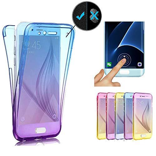 Miagon für Samsung Galaxy A20e Handyhülle 360 Grad Gradient Blau Lila Transparent Silikon Etui Full Cover Vorne Hinten Rundum Doppel-Schutz Hülle Case Cover