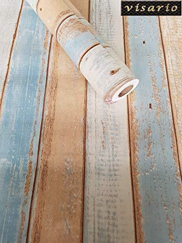 Visario Tapeten Folie 3000-S selbstklebend Holz Bretter Paneel Strandhaus Dekorfolie Möbelfolie Tapete bunt Vintage 10 m x 45 cm 3022