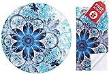 Träumerische blaue Mandala-Blumen-runde Mausunterlage. Bunter netter Entwurf mit rutschfester Unterseite. Passendes Mikrofasertuch für Brillen und Elektronik. Cooles Mauspad für Laptop &...