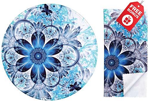 Cojín ratón redondo flor azul soñadora mandala