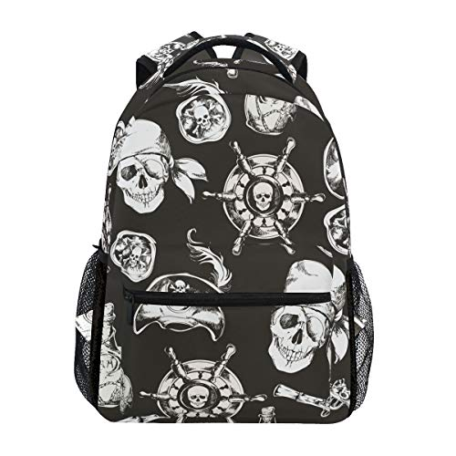 Ruder Schädel Pirat Studentenrucksack Kinderrucksack Büchertasche Schülerrucksack mit Laptop Rucksäcke für die Reise Teen Mädchen Jungs