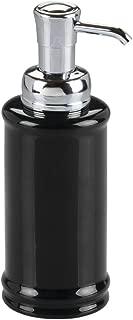 InterDesign Hamilton Glass Soap & Lotion Dispenser Pump for Kitchen or Bathroom Countertops, Black/Chrome