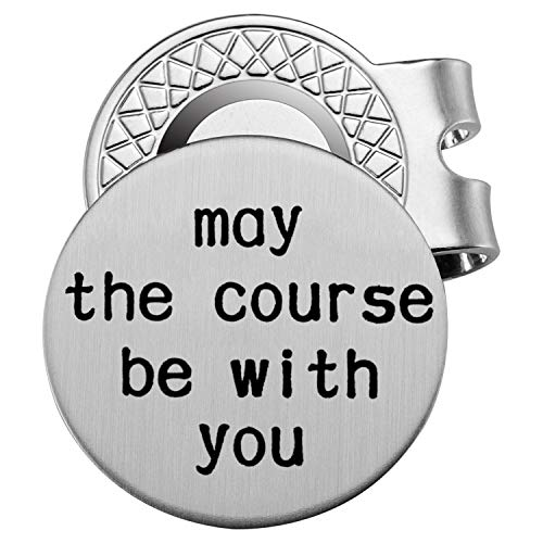 Memories Coding Stainless Steel Golf Ball Marker with Magnetic Hat Clip - Engraved Message 'May The Course Be with You' - Golf Accessories for Men - A Perfect Mens Gift for Golf Lovers