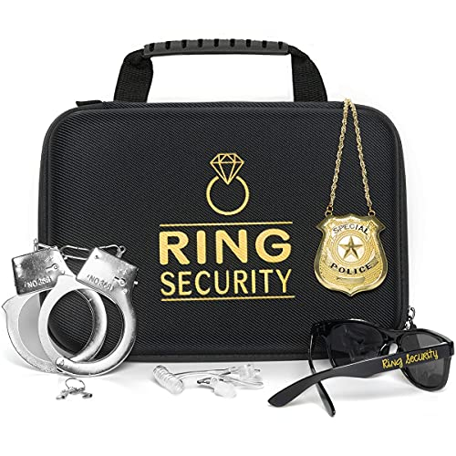 Ring Security Wedding Ring Bearer Gifts – Security Box, Ring Bearer Sunglasses, Kids Toy Badge, Security Earpiece Earplugs & Toy Handcuffs, Ring Bearer Proposal Gift Set with Sturdy Security Briefcase