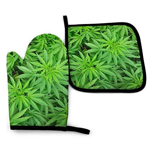 Guantes de Cocina y Juego de Mantel Individual Plantas de maceta de cannabis marihuanacon Silicona Antideslizantes para Cocinar, Asar(Juego de 2 piezas)