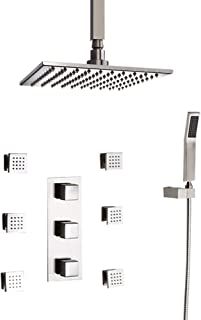 JiaYouJia Modern 16 Inches Square Ceiling-Mount Rain Shower Head & 6 Body Sprays & Handheld Shower System in Brushed Nickel