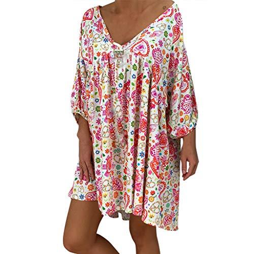 LOPILY Frauen Große Größen Blumenmuster Kleider Boho Stil Übergröße Sommerkleider Blumendruck Knielang Kleid Kurzarm Kleid Tunika Kleid (Rosa, DE-60/CN-5XL)