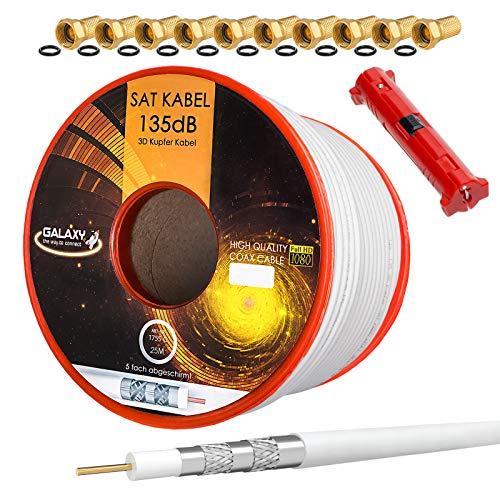 HB-Digital Set 25m Koaxial SAT Kabel 135db Weiß + 10x F-Stecker vergoldet + 1x Abisolierer | CU Reines Kupfer Satellit Antennenkabel 5-Fach geschirmt für DVB-S/S2 -C/C2 -T/T2 DAB+ Radio BK Anlagen