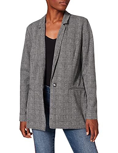 Mavi Damen Knit Jacket Mantel, Schwarz (Black Check 900), Large