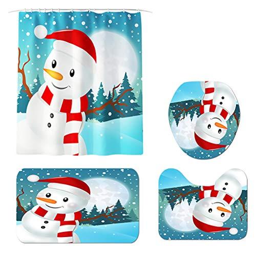 Floweworld 4 Stücke Badematte Set Weihnachten Schneemann Gedruckt rutschfeste Wc Polyester Abdeckung Matte Set Bad Duschvorhänge Hause Toliet Decor