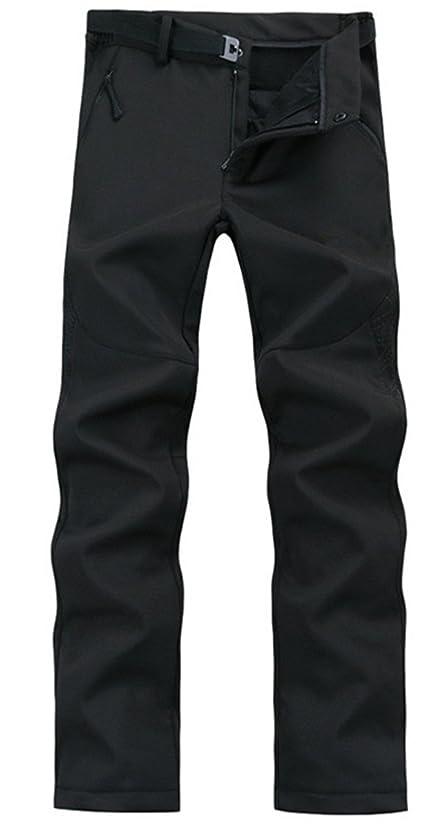 仕事に行く取り付け先入観Lanbaosi メンズ アウトドア スポーツ ウェア 高機能 防風 防寒 トレッキング パンツ ソフトシェル アウター パンツ 裏フリース パンツ ロングパンツ ズボン