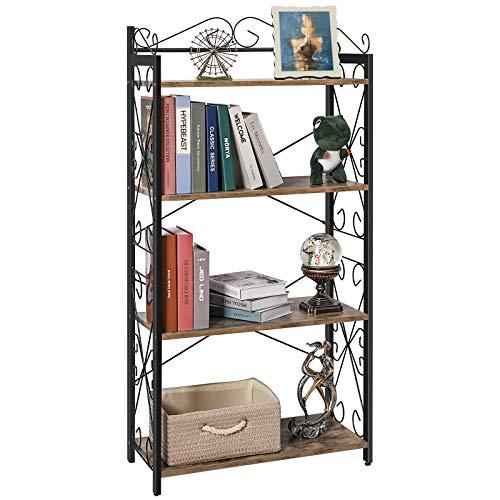 X-cosrack Estantería de 4 niveles con marcos de metal, soporte para libros de pie industrial rústico con 2 estantes ajustables para sala de estar, dormitorio, estudio, oficina
