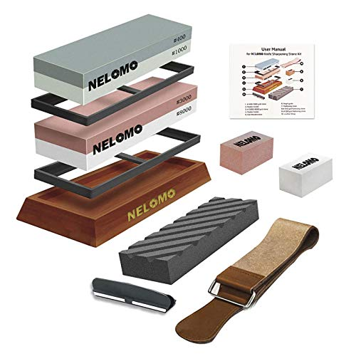 Whetstone, NELOMO Knife Sharpening Stone Set 400/1000 3000/8000 Grit 4 Side Knife Sharpener Stone Wet Water Stone Kit with Non-Slip Oak Base Leather Strop Angle Guide Flattening Stone