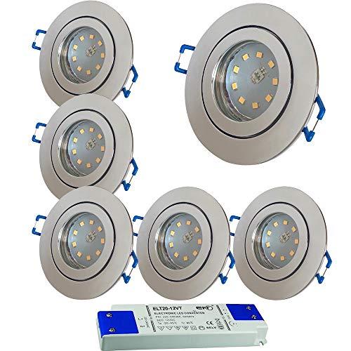 LED Bad Einbauleuchten 12V inkl. 6 x 3W SMD LM Farbe Chrom IP44 LED Einbauspots Neptun Rund 3000K mit Trafo
