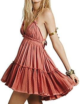 R.Vivimos Womens Summer Halter Deep V Neck Sexy Patchwork Mini Short Dresses XL Pink